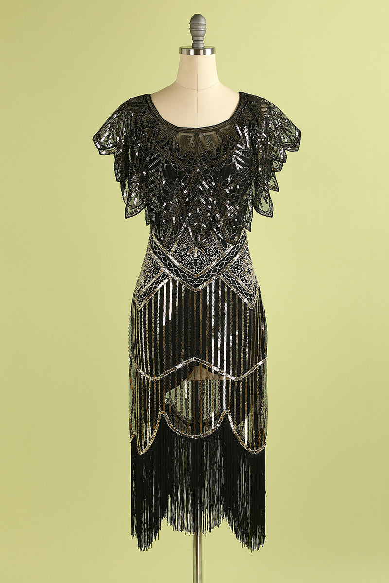 Load image into Gallery viewer, Black and Gold Sequin Glitter 1920s Cape