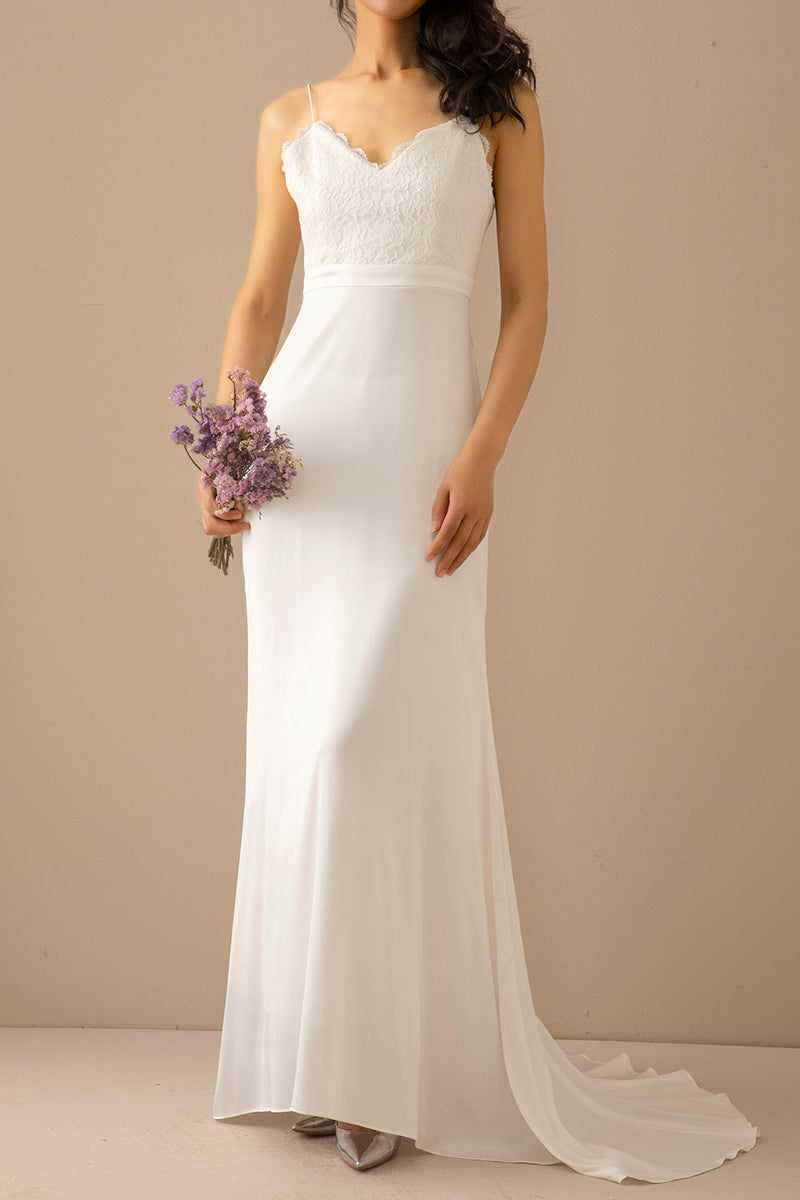 Load image into Gallery viewer, Mermaid White Long Prom Wedding Dress