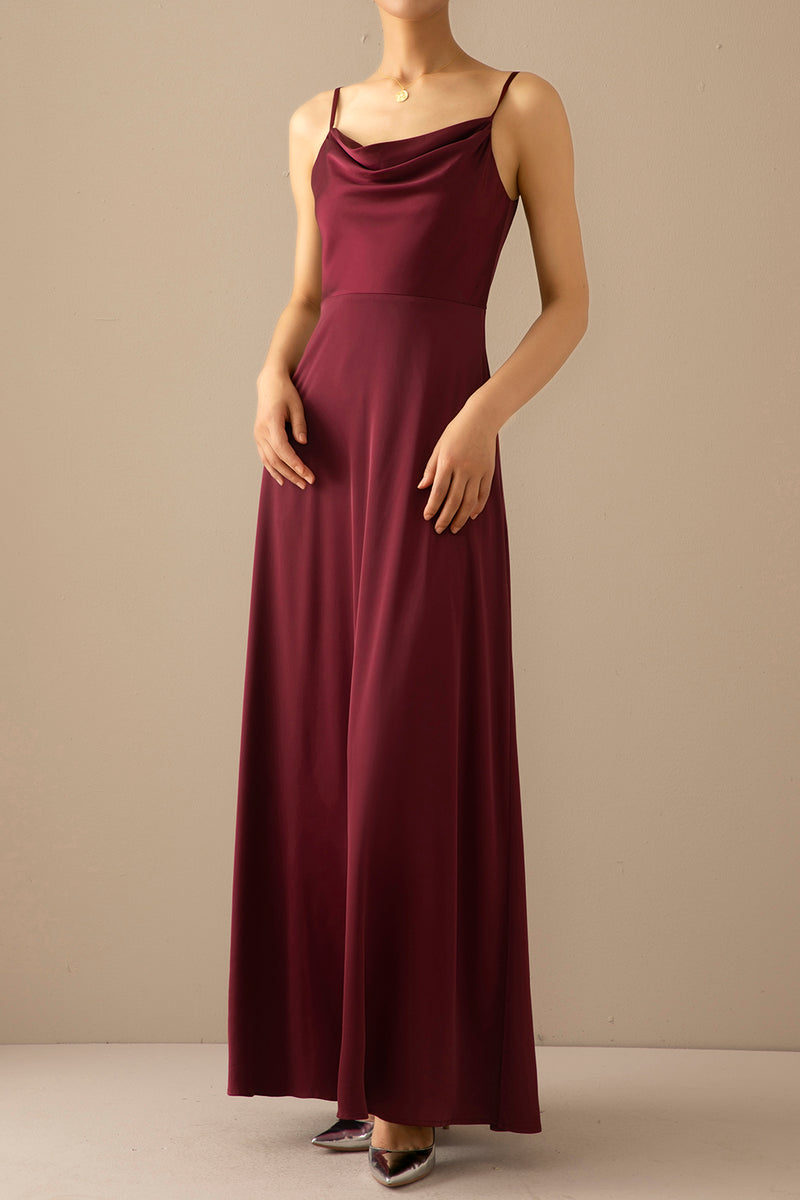 Load image into Gallery viewer, Burgundy Simple Long Bridesmaid Formal Dress