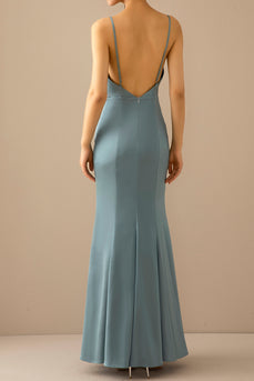 Mermaid Blue V Neck Long Formal Dress