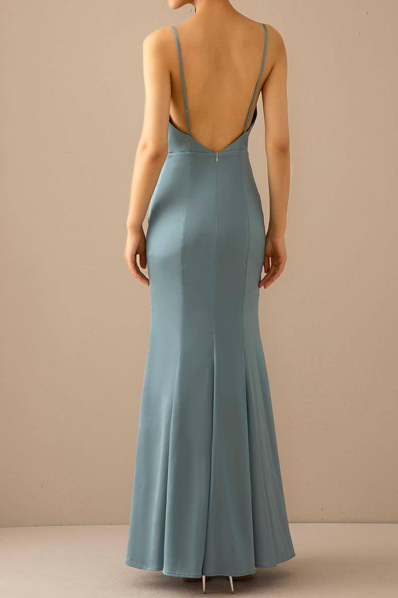 Load image into Gallery viewer, Mermaid Blue V Neck Long Formal Dress