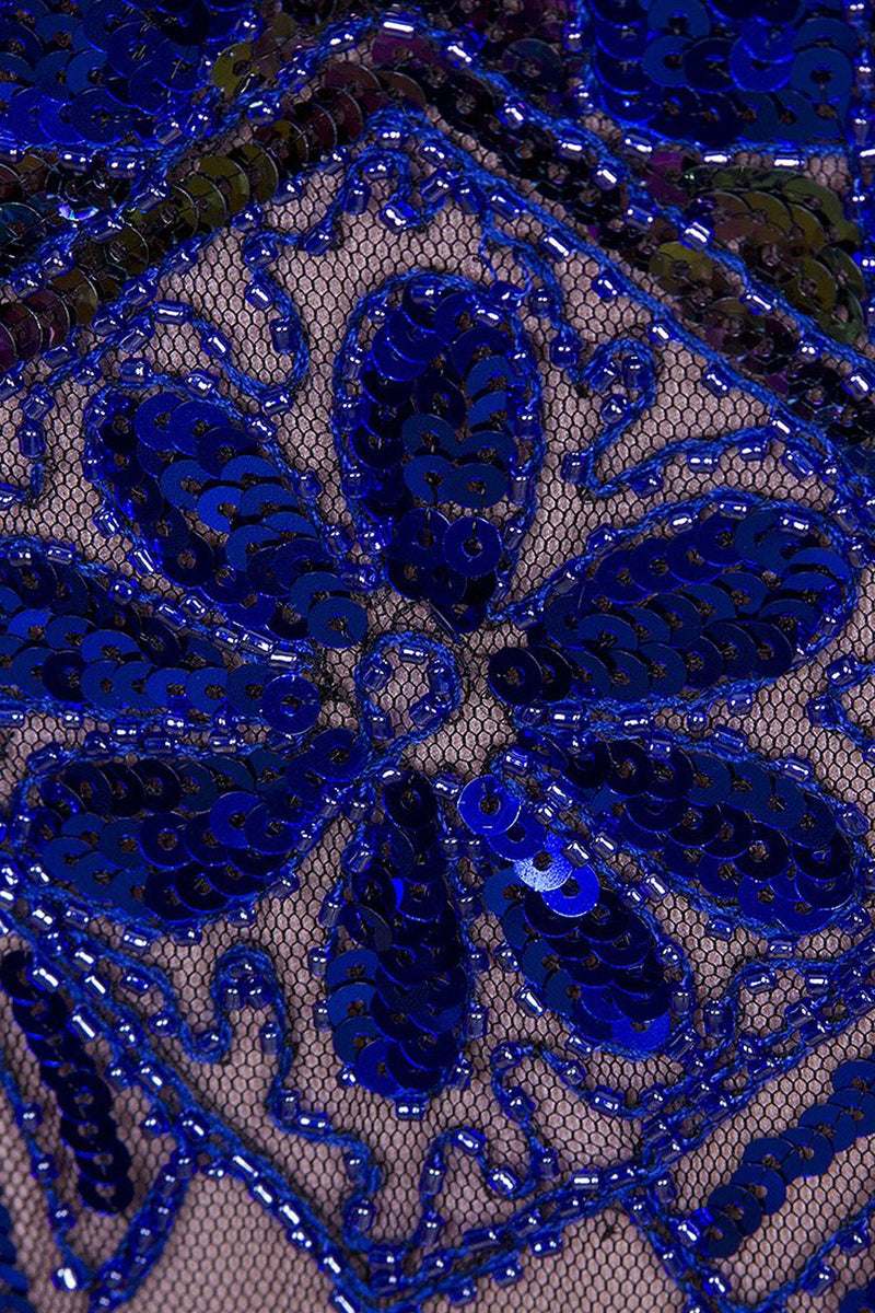 Load image into Gallery viewer, 1920s Vintage Royal Blue Sequins Flapper Dress