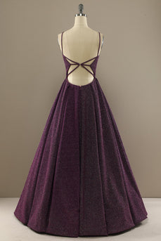 Charming A Line Purple Formal Dress with Split Front