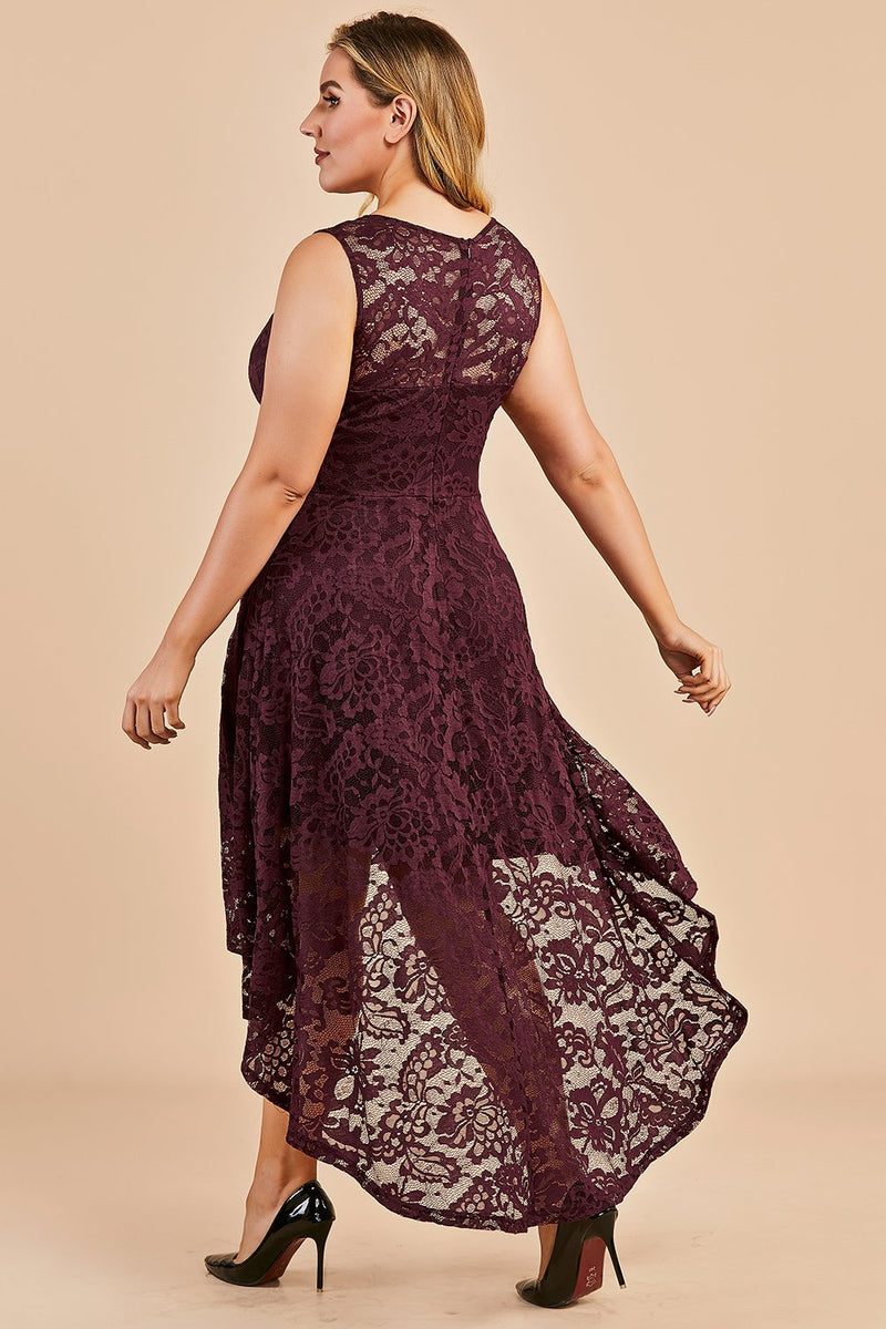 Load image into Gallery viewer, Dark Red Plus Size Asymmetry Lace Party Dress