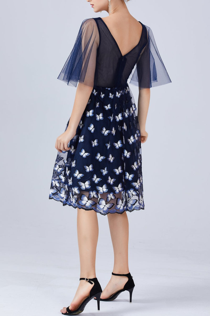 Load image into Gallery viewer, Navy Blue Butterfly Dress