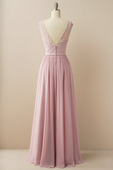 Blush Long Chiffon & Lace Formal Dress
