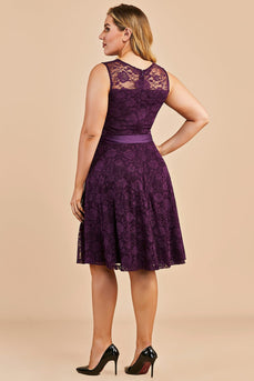 Grape Short Plus Size Lace Dress