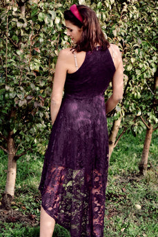 Grape High Low Lace Dress