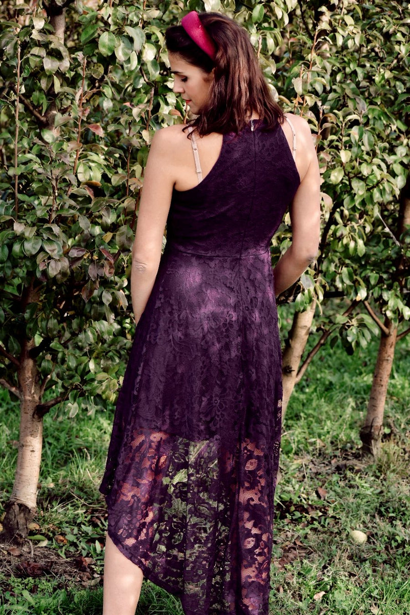 Load image into Gallery viewer, Grape High Low Lace Dress