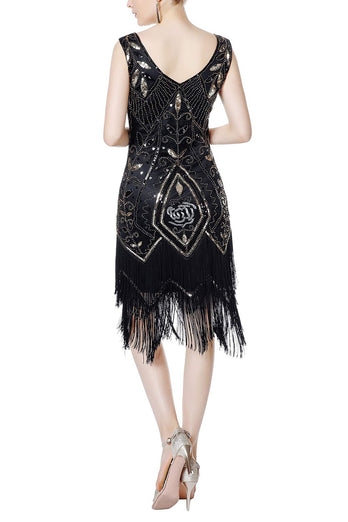 Black Sequins V-neck Glitter Fringe 1920s Dress