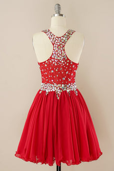 Red Beading Homecoming Dress