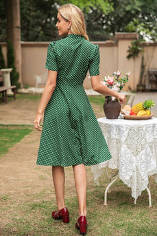 Green Polka Dots Vintage Summer Dress