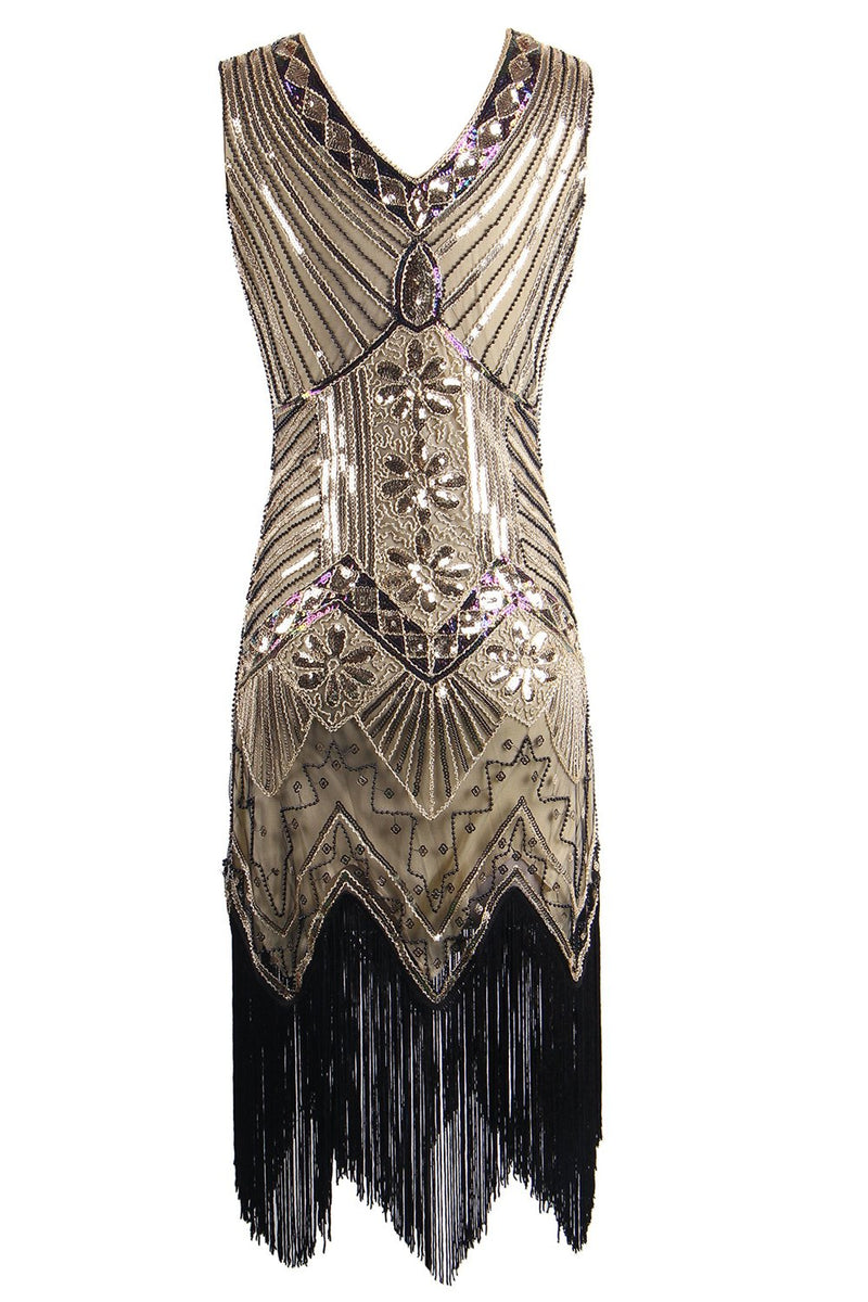 Load image into Gallery viewer, Gold Glitter Fringe 1920s Flapper Dress