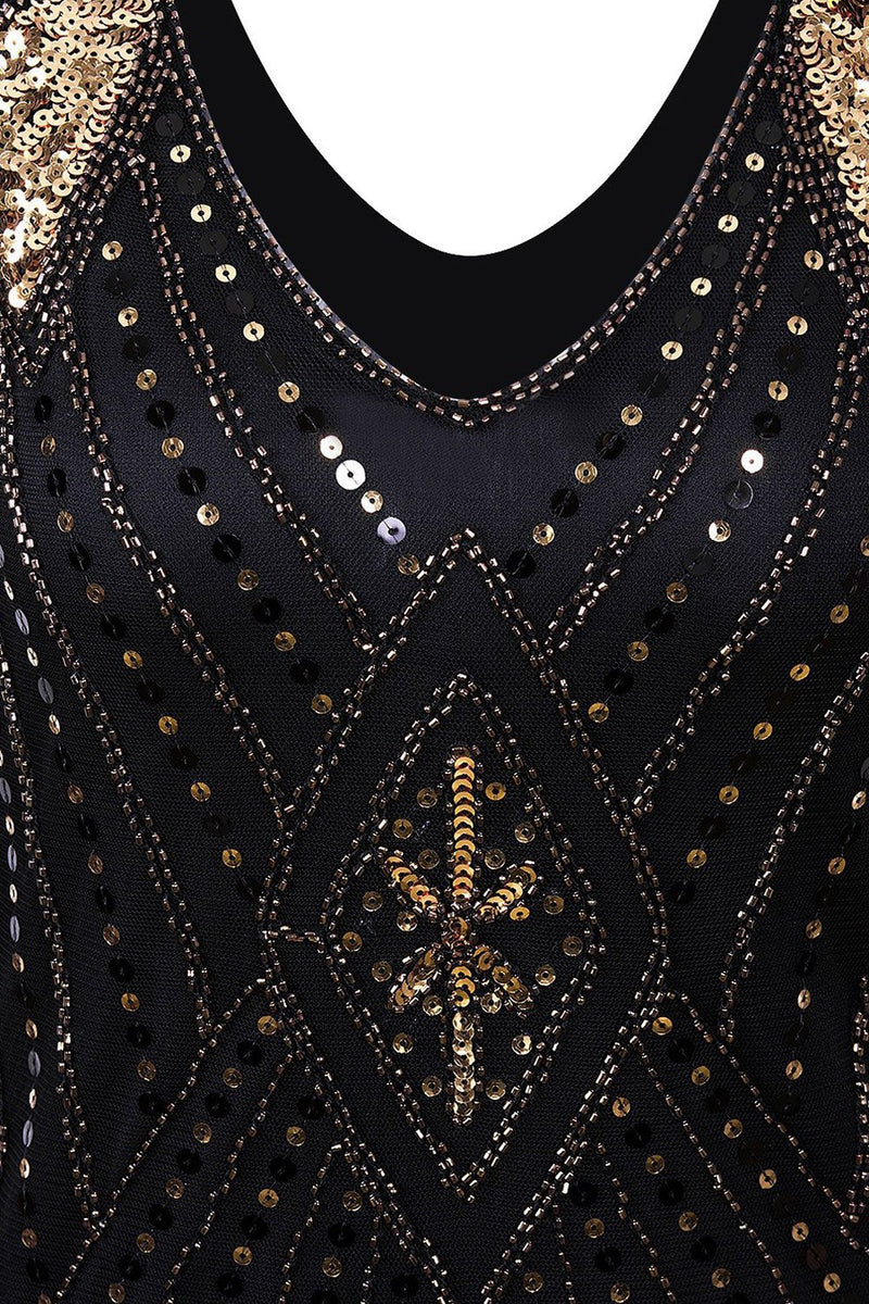 Load image into Gallery viewer, Black and Gold Flapper 1920s Sequins Dress