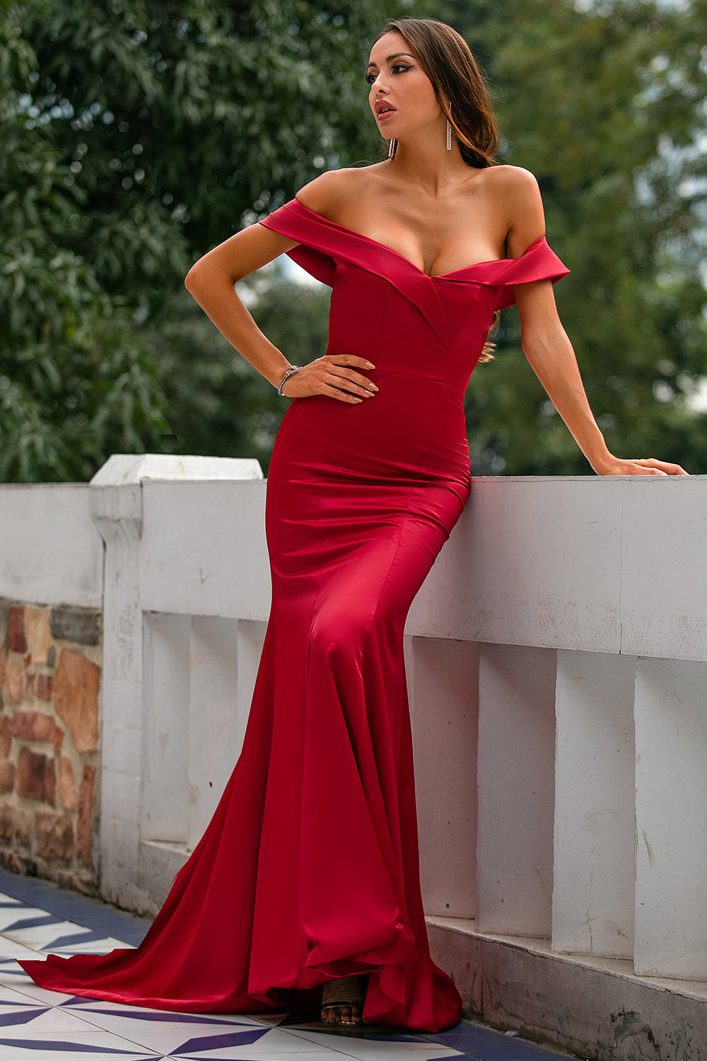 Red Off Shoulder Prom Dress