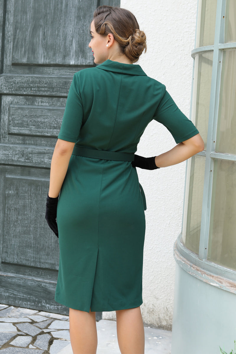 Load image into Gallery viewer, Vintage Lapel Collar Dark Green Bodycon Dress