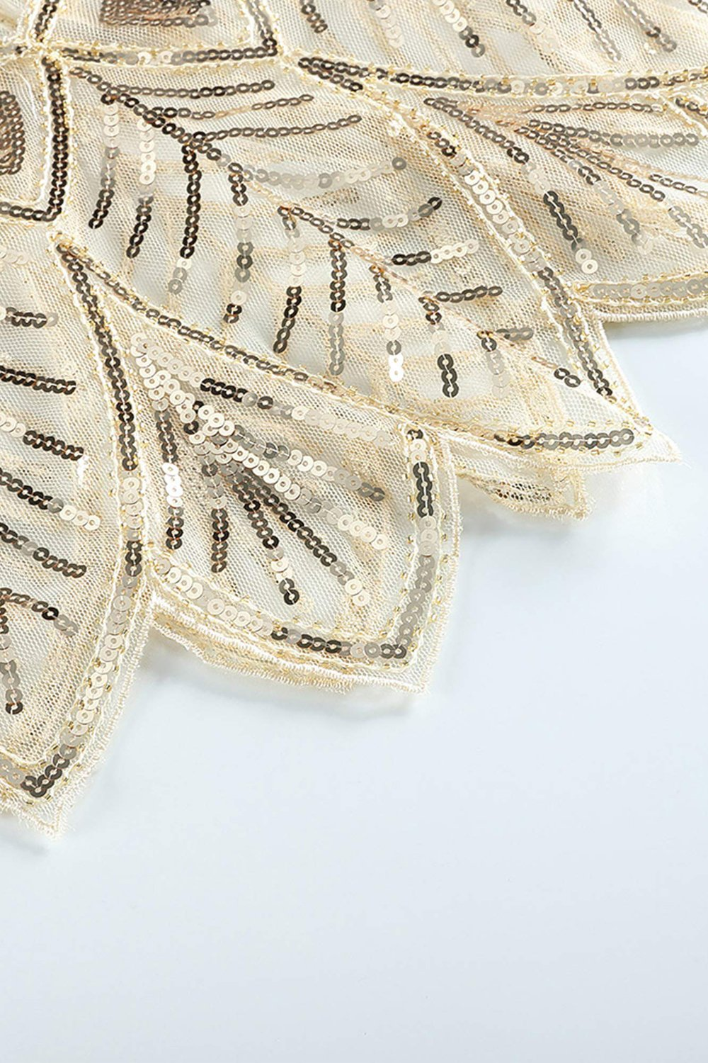 Ivory Sequin Glitter 1920s Cape