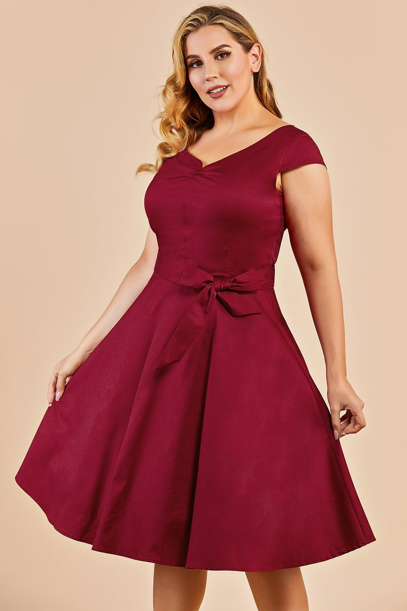 Load image into Gallery viewer, Dark Red Plus Size Swing Dress