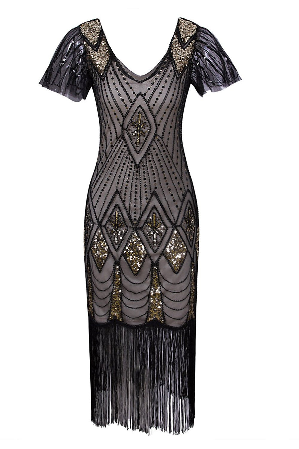 Flapper Black 1920s Sequins Dress