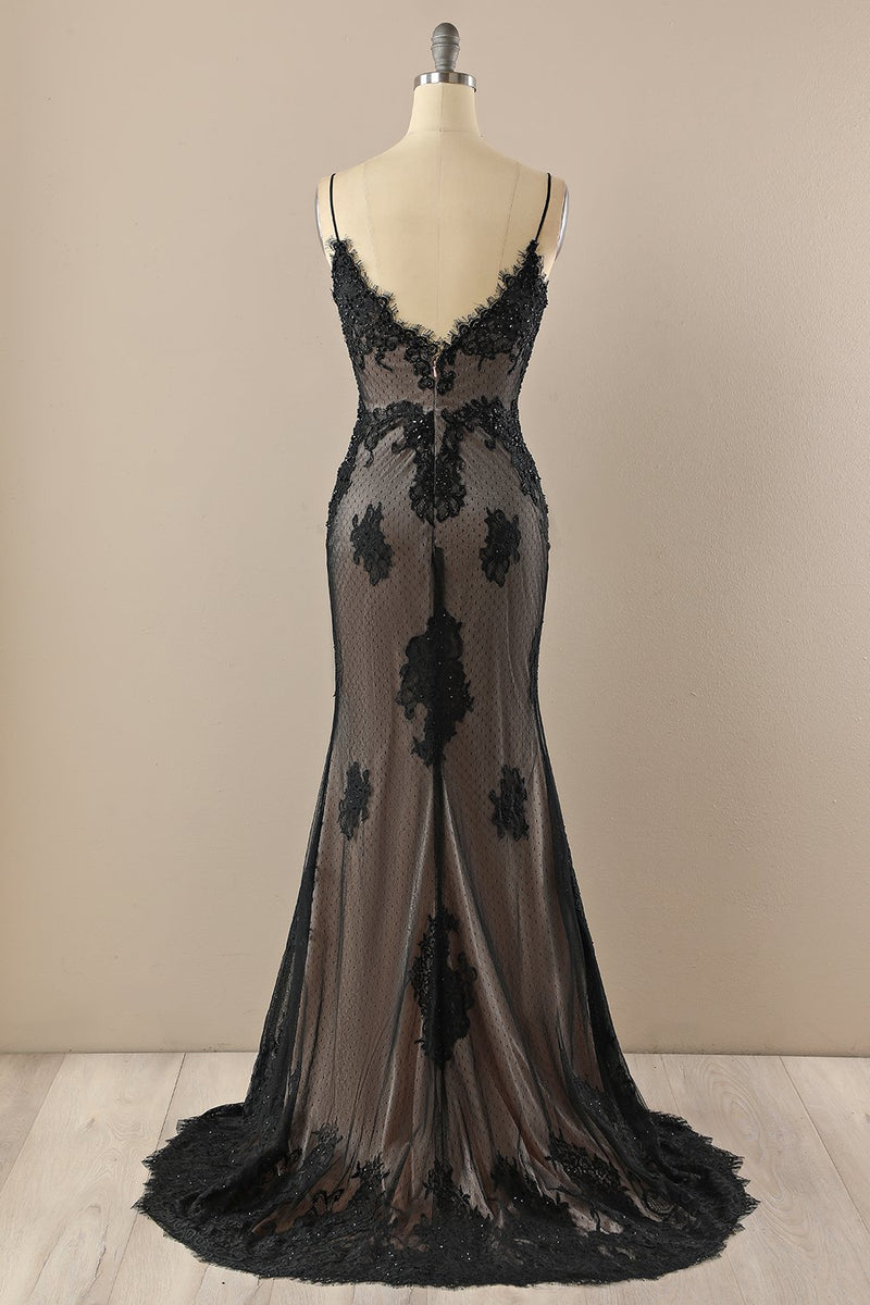 Load image into Gallery viewer, Black V neck Beaded Prom Dress
