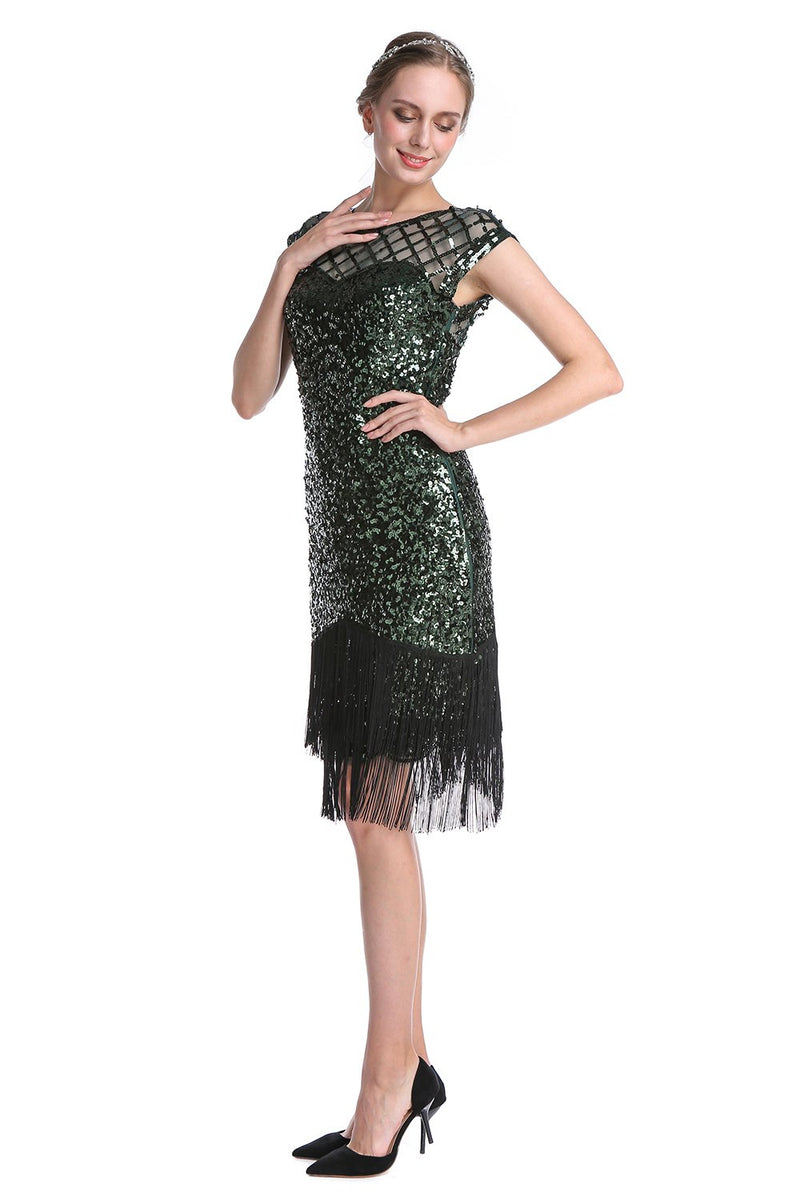 Load image into Gallery viewer, Dark Green Sequin 1920s Dress