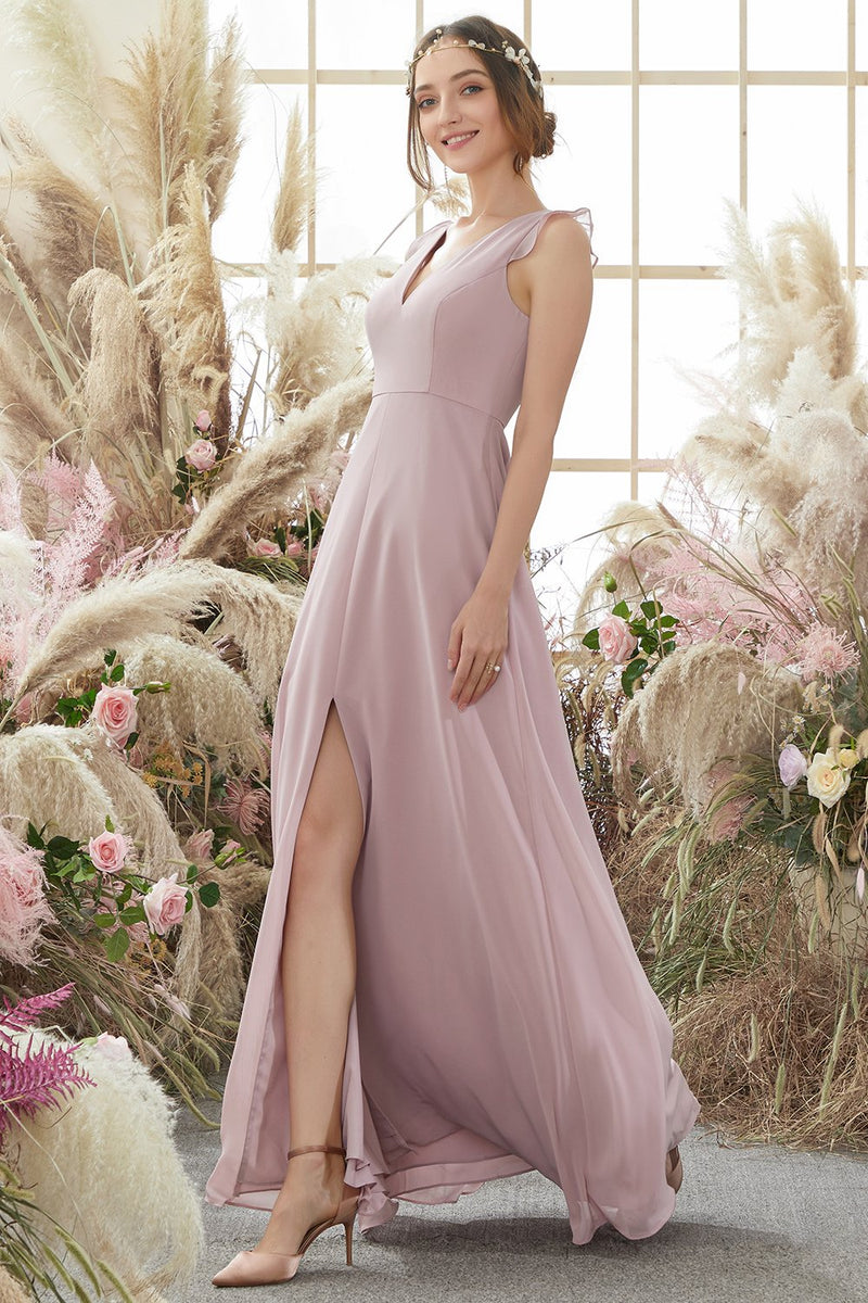 Load image into Gallery viewer, Blush Open Back Chiffon Bridesmaid Dress