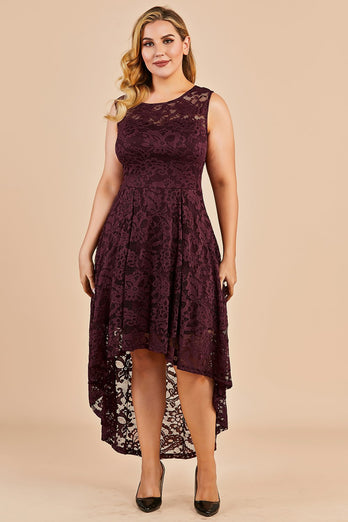 Dark Red Plus Size Asymmetry Lace Party Dress