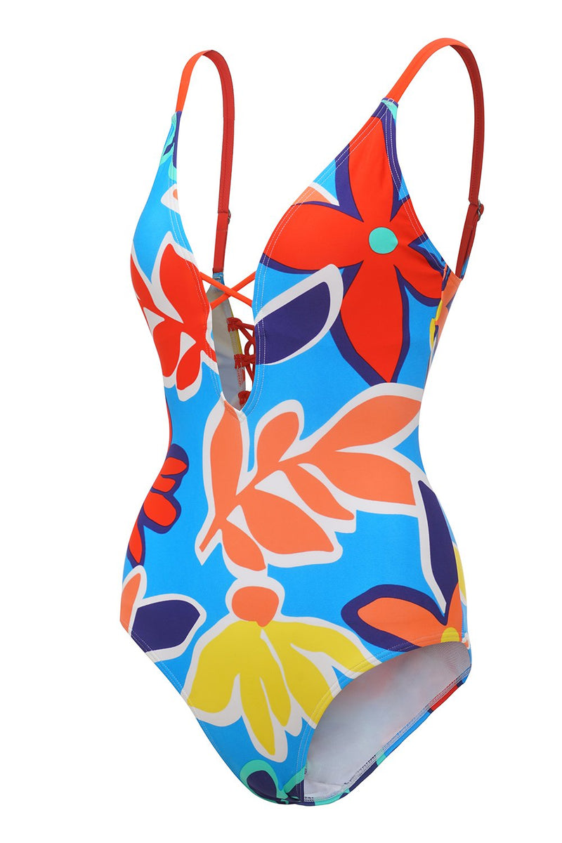 Load image into Gallery viewer, Blue Printed Spaghetti Straps One Piece Swimwear
