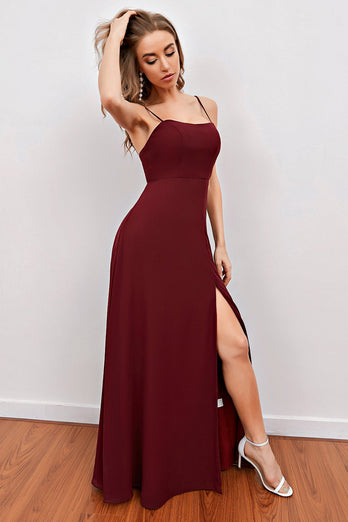 Burgundy Spaghetti Straps Long Bridesmaid Dress with Split