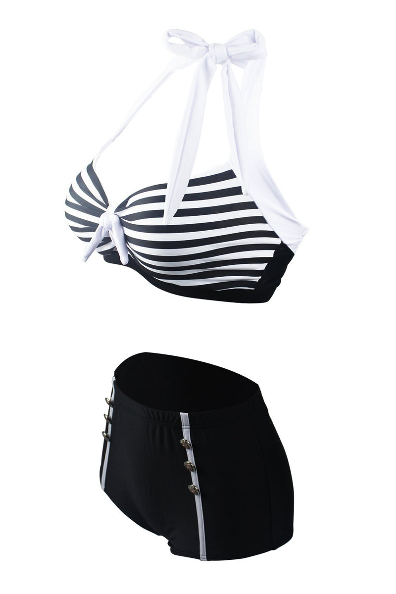 Load image into Gallery viewer, Stripes Two Piece Bikini Swimsuit