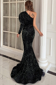 One Shoulder Sequins Mermaid Formal Dress