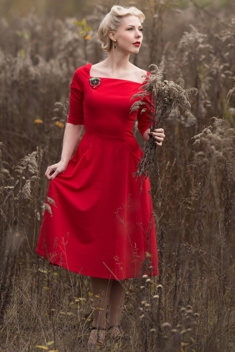 Load image into Gallery viewer, Exclusive Red Dress with Pockets