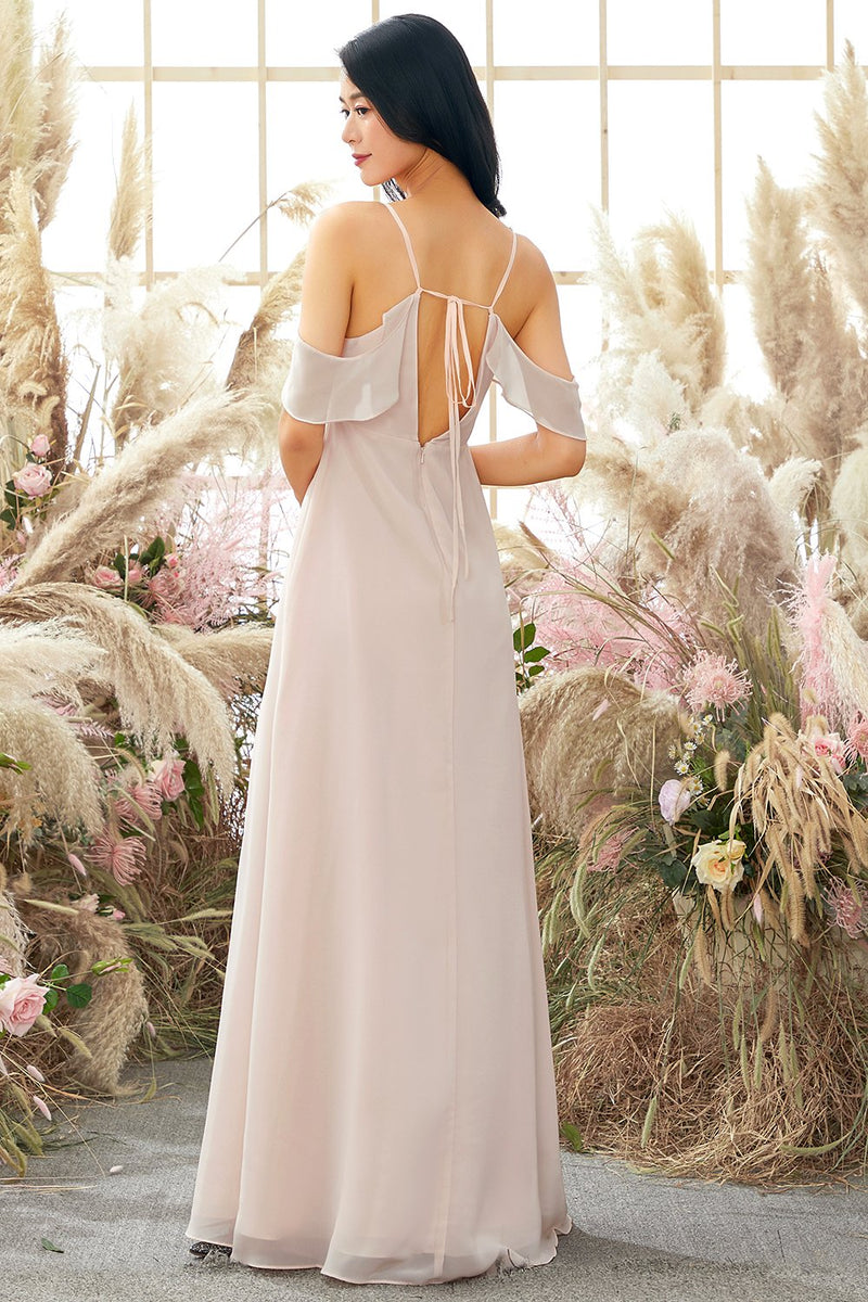 Load image into Gallery viewer, Pink Off Shoulder A line Bridesmaid Dress