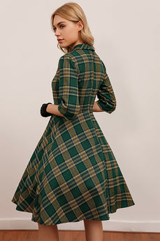 Green Plaid 3/4 Sleeve Vintage Dress