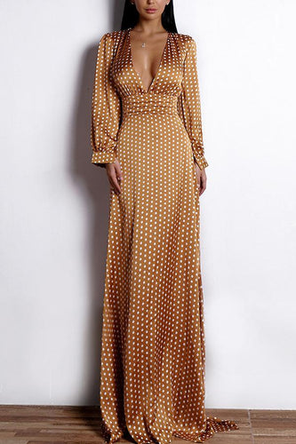 Yellow Polka Dots Long Sleeves Bohemian Dress