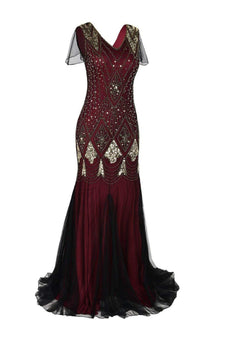 Burgundy 1920s Sequins Flapper Long Dress