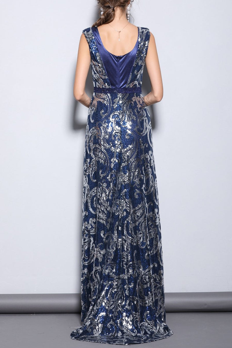 Load image into Gallery viewer, Blue Sequins Mermaid Long Prom Dress