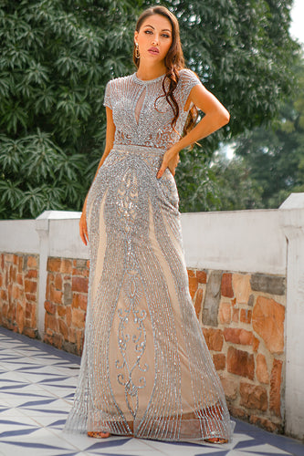 Mermaid Beaded Silver Prom Dress