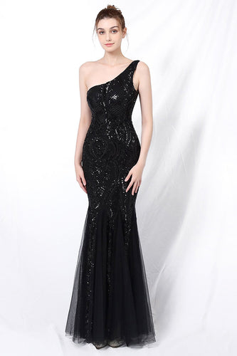 Mermaid One Shoulder Formal Dress with Appliques