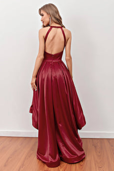 Burgundy High Low Formal Dress with Pockets