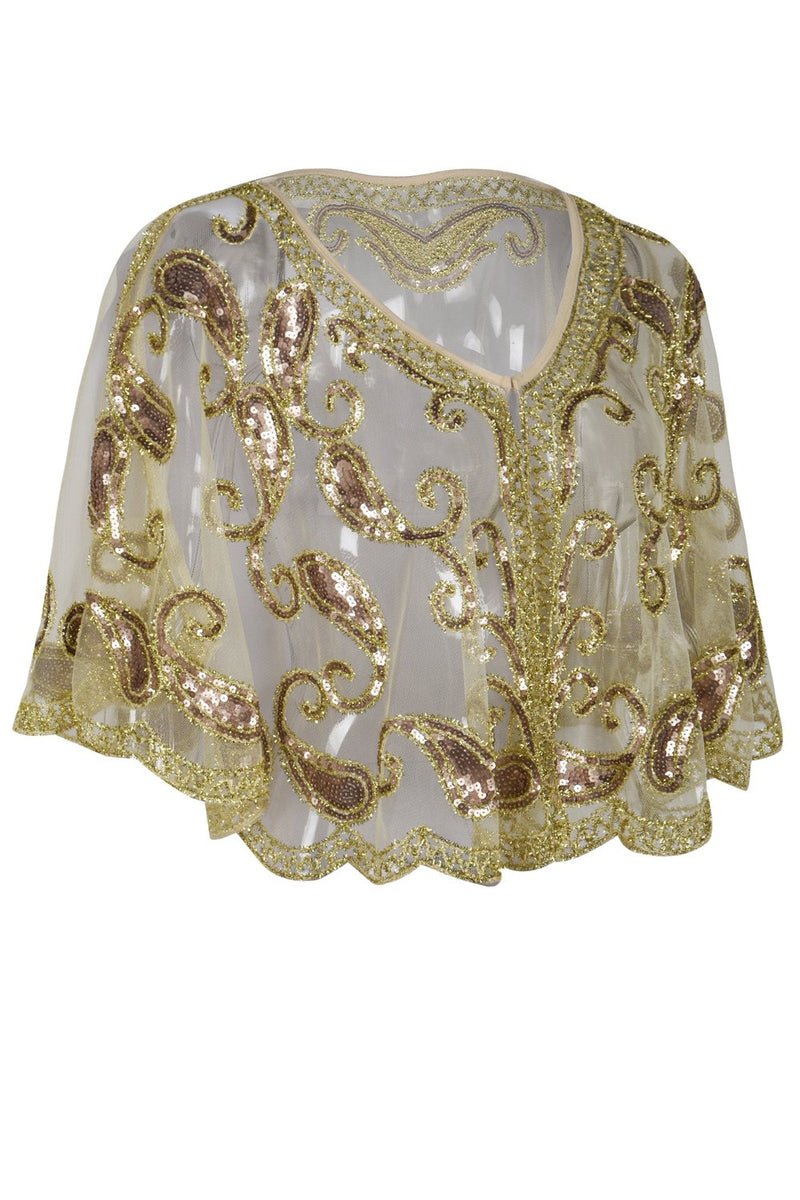 Load image into Gallery viewer, 1920s Ivory Glitter Sequins Cape