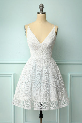 White Spaghetti Straps Homecoming Dress
