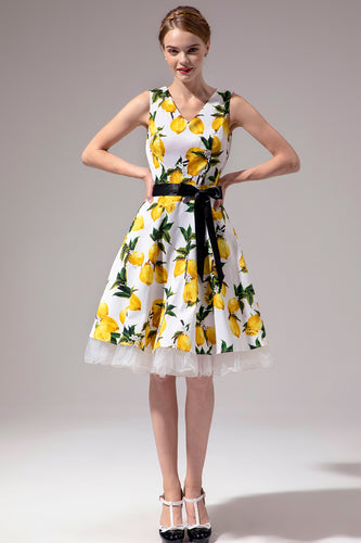 V-neck Lemon Vintage Dress