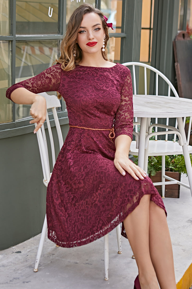 Load image into Gallery viewer, Burgundy Lace Dress with 3/4 Sleeves
