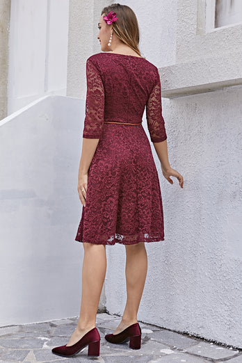 Burgundy Lace Dress with 3/4 Sleeves