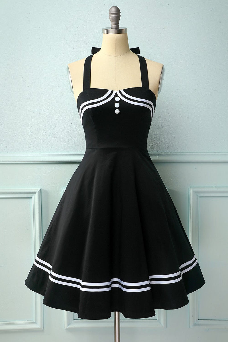 Load image into Gallery viewer, Black 50s Rockabilly Pin Up Dress