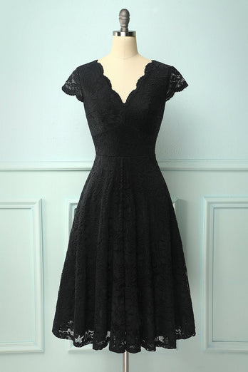 Black V Neck Midi Lace