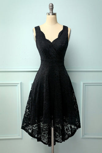Black V-Neck Lace Dress