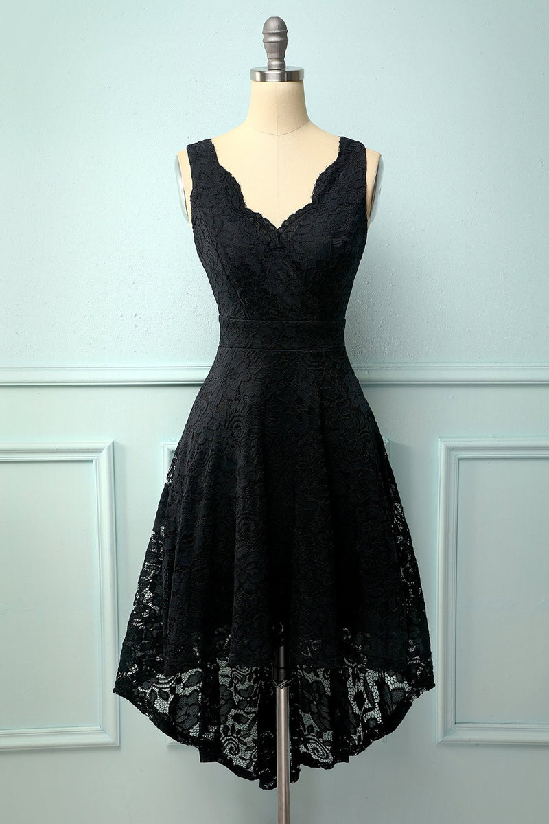 Load image into Gallery viewer, Black V-Neck Lace Dress