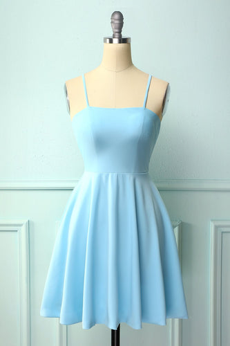 Blue Open Back Cocktail Dress
